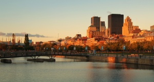Old port of Montreal early in the morning during fall season
